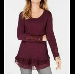 Style & Co | Lace Hem Tunic Sweater